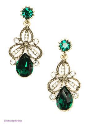 Серьги Royal Diamond. Цвет: бронзовый, зеленый
