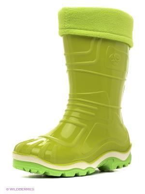 Резиновые сапоги Дюна. Цвет: светло-зеленый, желтый