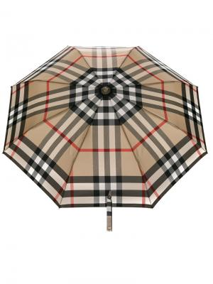 Складной клетчатый зонт Burberry. Цвет: серый