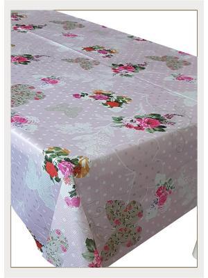 Скатерть с фотопринтом Бабочки и цветы на розовом фоне, 150x150 см Magic Lady. Цвет: серый, красный, оранжевый, розовый, белый, зеленый