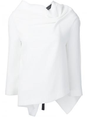 Блузка с драпированными деталями Roland Mouret. Цвет: белый