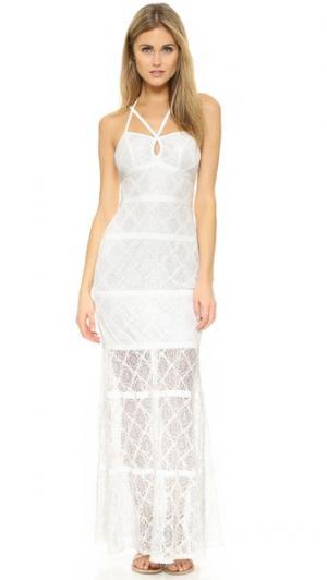 Кружевное вечернее платье с каплевидным вырезом Ali & Jay. Цвет: белый