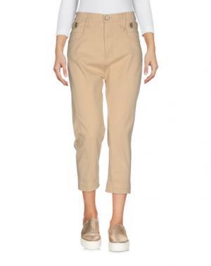 Джинсовые брюки-капри FRANKIE MORELLO. Цвет: песочный