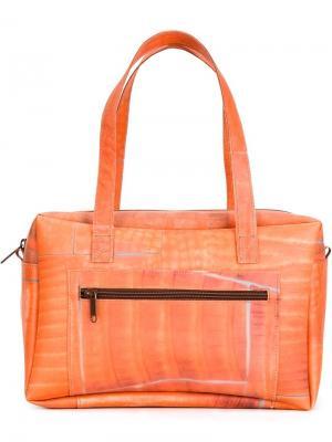 Структурированная сумка-тоут с геометрическим узором Luisa Cevese Riedizioni. Цвет: жёлтый и оранжевый