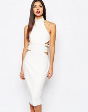 AQ Платье-футляр миди с отделкой по бокам AQ/AQ Diaz. Цвет: кремовый