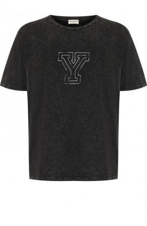 Хлопковая футболка с круглым вырезом Saint Laurent. Цвет: черный
