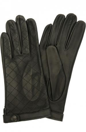 Кожаные перчатки с прострочкой Sermoneta Gloves. Цвет: черный