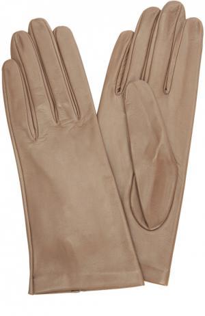 Кожаные перчатки с подкладкой из шелка Sermoneta Gloves. Цвет: темно-бежевый