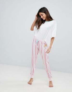 Chelsea Peers Длинная пижама в полоску Cheslea. Цвет: розовый