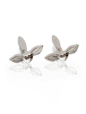 Запонки свадебные крылья сердце Churchill accessories. Цвет: серебристый