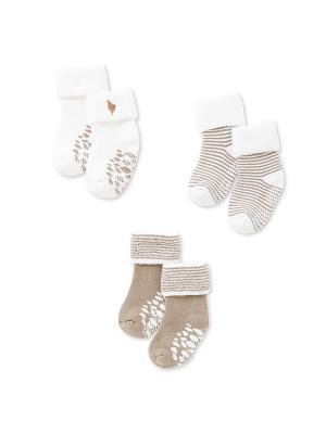 Махровые носочки, 3 пары HappyBabyDays. Цвет: светло-коричневый