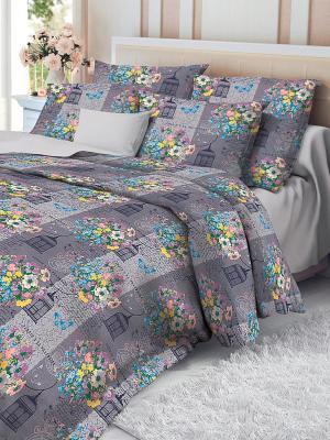 Комплект постельного белья Verossa. Цвет: серый, лиловый