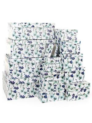 Набор из 15 картонных коробок 12*6,5*4-46,6*33*18см, Ирисы VELD-CO. Цвет: темно-фиолетовый, белый, сиреневый