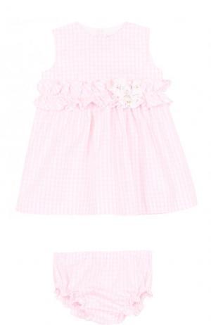 Комплект из платья с цветочной аппликацией и трусов Aletta. Цвет: розовый