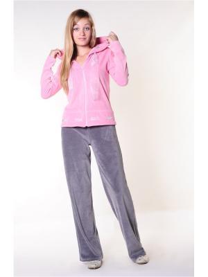 Велюровый костюм Тефия. Цвет: розовый, серый
