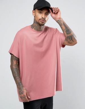 ASOS Розовая oversize-футболка из плотного трикотажа. Цвет: розовый