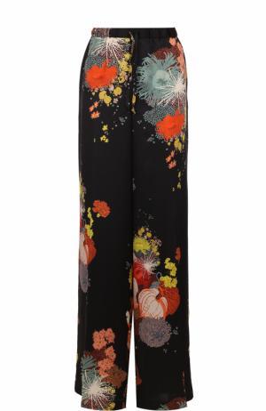 Широкие шелковые брюки с цветочным принтом Dries Van Noten. Цвет: черный