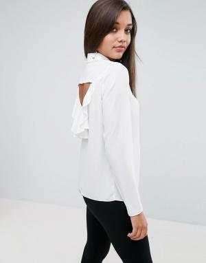 ASOS Блузка с оборкой на спине. Цвет: белый