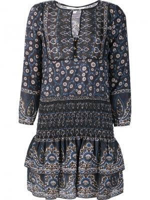 Платье с цветочным принтом Veronica Beard. Цвет: чёрный