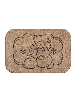 Коврик придверный Снеговики MoiKovrik. Цвет: темно-бежевый