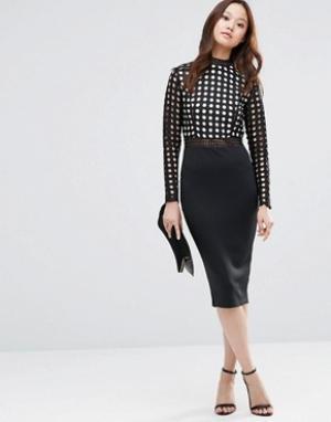 Girl In Mind Облегающее платье миди с кружевными рукавами Halle. Цвет: черный