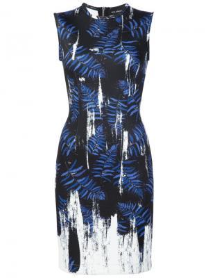 Облегающее платье с абстрактным принтом Yigal Azrouel. Цвет: синий