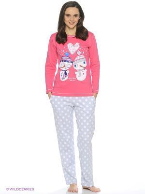 Пижама ROLY POLY. Цвет: фуксия, светло-серый