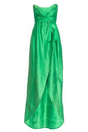 Платье из шелка с поясом 165195 Villa Turgenev. Цвет: зеленый