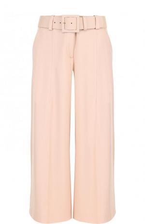 Укороченные расклешенные брюки из шерсти Oscar de la Renta. Цвет: бежевый