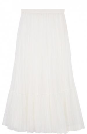 Плиссированная юбка-макси с оборкой Valentino. Цвет: белый