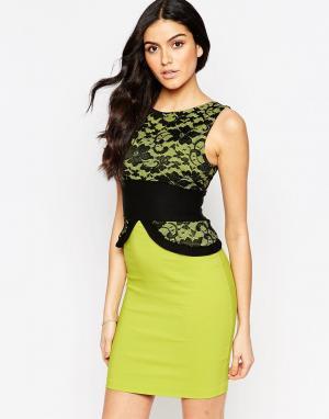 Vesper Платье-футляр с кружевным топом Ronnie. Цвет: зеленый