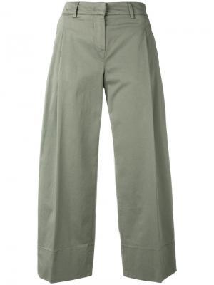 Укороченные брюки Fay. Цвет: зелёный