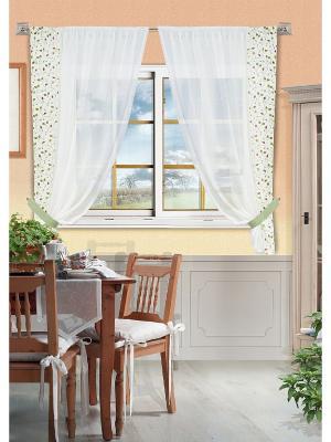 Комплект штор Kaila-S Kauffort. Цвет: белый, зеленый