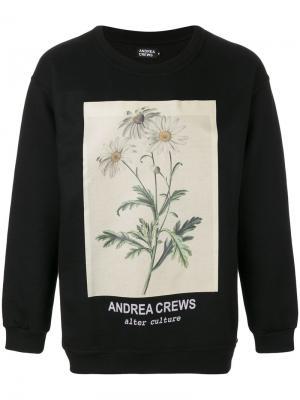 Толстовка с цветочным принтом Andrea Crews. Цвет: чёрный