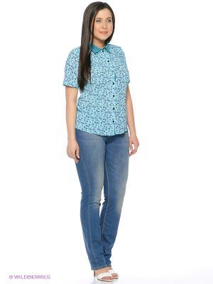 Блузка Полина. Цвет: бирюзовый, синий