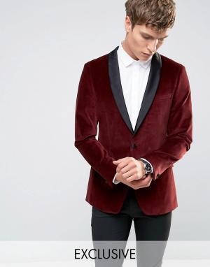 Number Eight Savile Row Бархатный пиджак‑смокинг с атласными лацканами. Цвет: красный