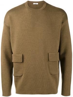 Джемпер с карманами клапанами Valentino. Цвет: коричневый