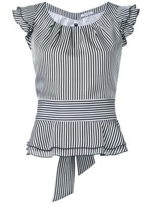 Блузка в полоску с оборками на рукавах Guild Prime. Цвет: белый