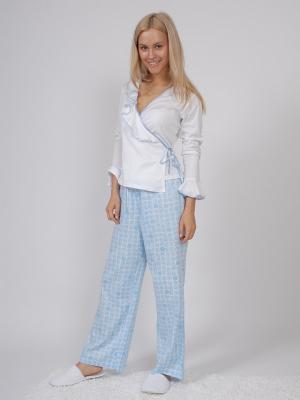 Пижама (кофта с запахом длинный рукав+штаны длинные) белый/голубой размер XS La Pastel. Цвет: голубой