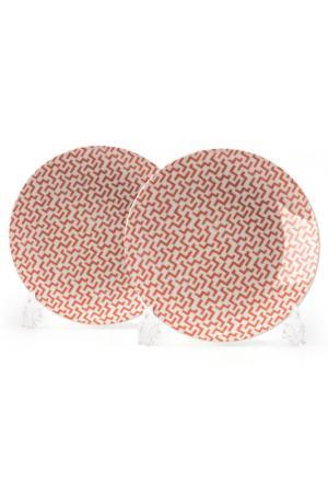 Набор тарелок 21 см, 2 шт La Rose des Sables. Цвет: белый, розовый