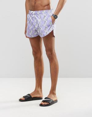 Abuze London Короткие шорты для плавания Nuh Answa. Цвет: фиолетовый