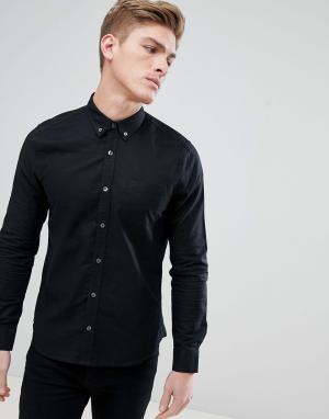 Burton Menswear Черная оксфордская рубашка с длинными рукавами. Цвет: черный