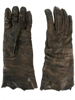 Перчатки с потертым эффектом Isaac Sellam Experience. Цвет: зелёный