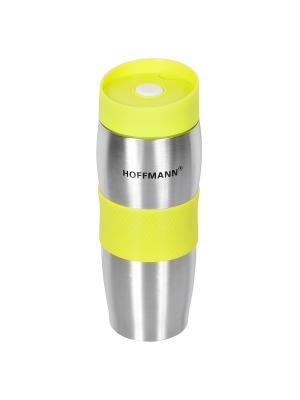 Термос-кружка с клапаном HOFFMANN. Цвет: серебристый, желтый