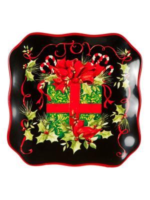 Набор тарелок квадратных десертных 21,5см Винтаж Новогодний Certified International. Цвет: черный, красный