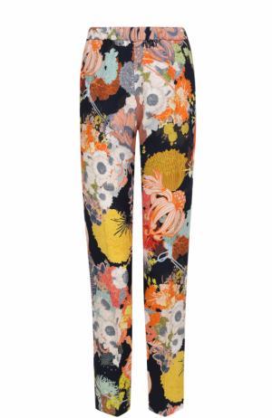 Укороченные брюки с эластичным поясом и цветочным принтом Dries Van Noten. Цвет: черный