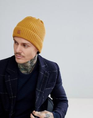 Dead Vintage Желтая шапка-бини в рубчик. Цвет: желтый