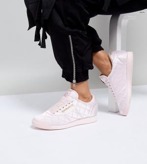 ASOS White Стеганые атласные кроссовки x Reebok Princess. Цвет: розовый