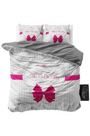 Комплект постельного белья Евро Sleeptime. Цвет: pink, gray