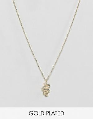 Orelia Ожерелье с подвеской-змеей. Цвет: золотой